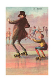 Roller Skater Hitching Ride