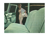 Green Car Interior with Dressed Up Woman