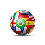 Brazil 2014 Football Soccer Ball with World Teams Flags
