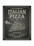 Italian Pizza Poster on Black Chalkboard
