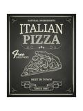 Italian Pizza Poster on Black Chalkboard Reproduction d'art par Hoverfly