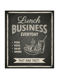 Business Lunch Poster on Blackboard Reproduction d'art par Hoverfly