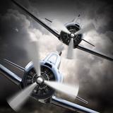 Dramatic Scene on the Sky: Vintage Fighter Plane Inbound from Sun Papier Photo par Kletr