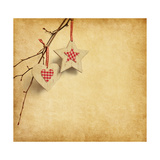 Christmas Decoration Hanging over Old Paper Background