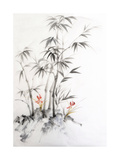 Watercolor Painting of Bamboo and Orchids