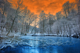 Spectacular Orange Sunset over Winter Forest