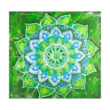 Abstract Green Painted Picture with Circle Pattern  Mandala of Anahata Chakra