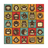 Robot and Monsters Cell Background
