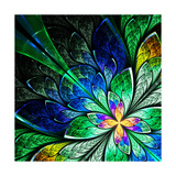 Beautiful Fractal Flower in Yellow  Green and Blue