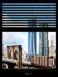 Window View with Venetian Blinds: Vertical Format of NYC Center and Brooklyn Bridge - Manhattan