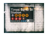 Subway Times Square - 42 Street Station - Subway Sign - Manhattan, New York City, USA Giclée par Philippe Hugonnard