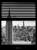 Window View with Venetian Blinds: New York Landscape