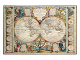Antique Map  Mappe Monde  1755