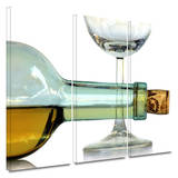 Bottle Plus Glass 3 piece gallery-wrapped canvas