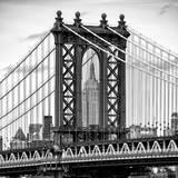 Manhattan Bridge with the Empire State Building Center from Brooklyn Bridge