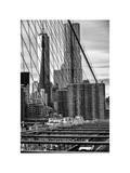 View of Brooklyn Bridge with the One World Trade Center (1WTC) and New York by Gehry Buildings