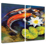 Koi Fish and Water Lily 2 piece gallery-wrapped canvas