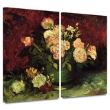 Peonies and Roses 2 piece gallery-wrapped canvas
