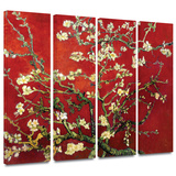 Interpretation in Red Almond Blossom 4 piece gallery-wrapped canvas