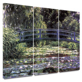 Bridge at Sea Rose Pond 3 piece gallery-wrapped canvas