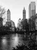 """Frozen Lake """"The Pond"""" in Central Park with 5th Avenue Buildings"""