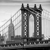 Manhattan Bridge with the Empire State Building from Brooklyn Bridge Papier Photo par Philippe Hugonnard