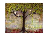 Print with Owls Moon River Tree Reproduction d'art par Blenda Tyvoll
