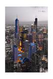 Chicago Loop Sundown BW Color Blend Papier Photo par Steve Gadomski