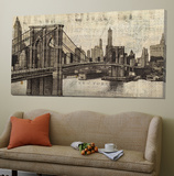 Vintage Brooklyn Bridge Toile Murale Géante par Michael Mullan