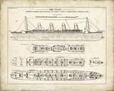 Titanic Blueprint Vintage I Giclée par The Vintage Collection