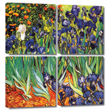 Irises in the Garden 4 piece gallery-wrapped canvas