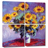 Sunflowers 4 piece gallery-wrapped canvas