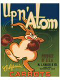 Up n' Atom Brand California Carrots Reproduction d'art