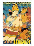 See India  Ajanta Frescoes  Cave Temples