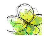 Green Abstract Brush Splash Flower