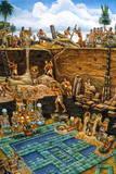 Olmec Indians Bury a Newly Created Tile Mosaic of Serpentine Blocks