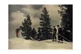 Four People Ski at Soda Springs