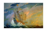 NC Wyeth Painting  the Caravels of Columbus