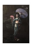 A Geisha Girl Poses in Her Kimono