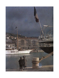 Two Boys Watch the Boats in the Port at Nice