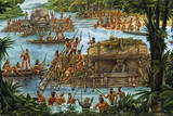 Olmecs Use the River for Transportation of Sculptures and Other Goods