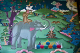A Colorful Mural Depicts the Tale of the Four Harmonious Friends in a Temple