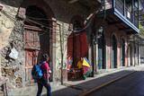 A Tourist Walks Through Panama City's Historic Quarter  known as the Casco Viejo or 'Old Shell'