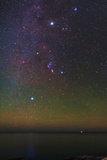 The Milky Way  Constellations  Sirius  and Bright Jupiter with Green and Red Airglow