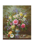 Bluebells  Daffodils  Primroses and Peonies in a Blue Vase