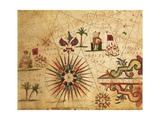 Portolan Chart Depicting Tripolitania  Africa and Wind Rose  1631