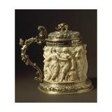 Ivory and Gilded Bronze Tankard Showing Bacchanalia Scene  Circa 1600-1650