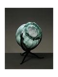 Witches Cauldron  Green Blown Glass Vase with Rib Molding  Ca 1910