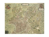 Map of Rome from Theatrum Civitatum Et Admirandorum Italiae by Joan Blaeued in Italy