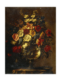 Flowers in a Glass Vase on a Rock